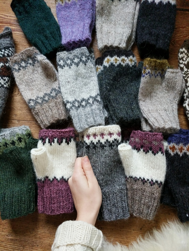 SO many fingerless mitts!  Meaghan made 8 pairs and I made 5