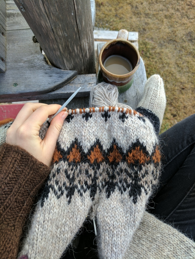Knitting outside during a thaw