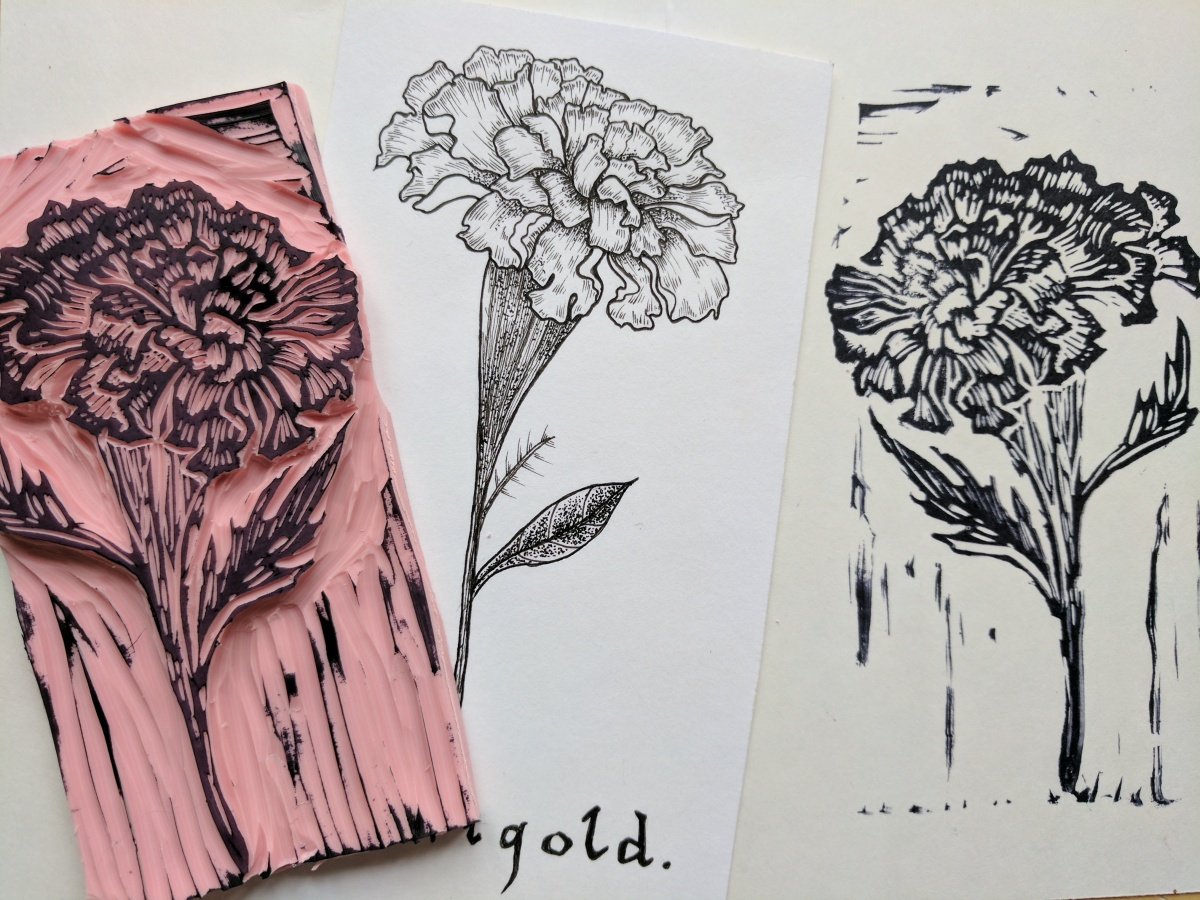 Carving botanical stamps