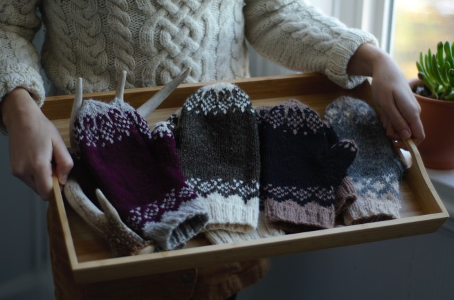 Tray of mittens